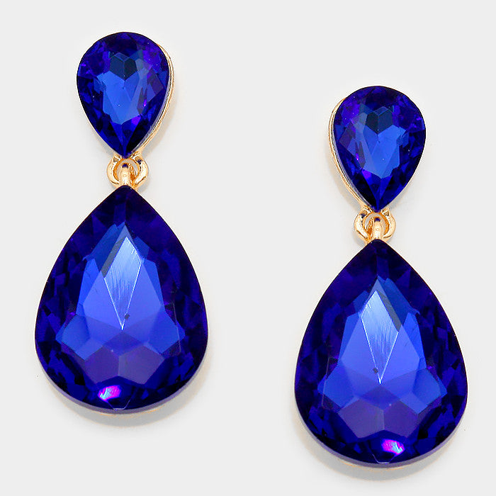 Formal Cobalt Blue Crystal Double-Teardrop Dangle Earrings - Bedazzled By Jeanelle