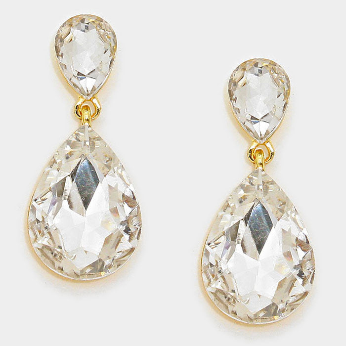 Formal Clear Crystal Double-Teardrop Dangle Earrings - Bedazzled By Jeanelle