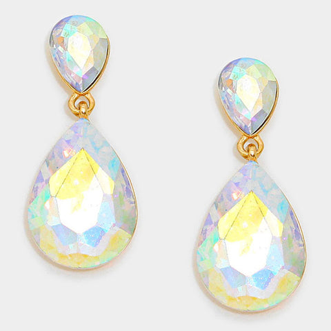 Formal AB Crystal Double-Teardrop Dangle Earrings - Bedazzled By Jeanelle