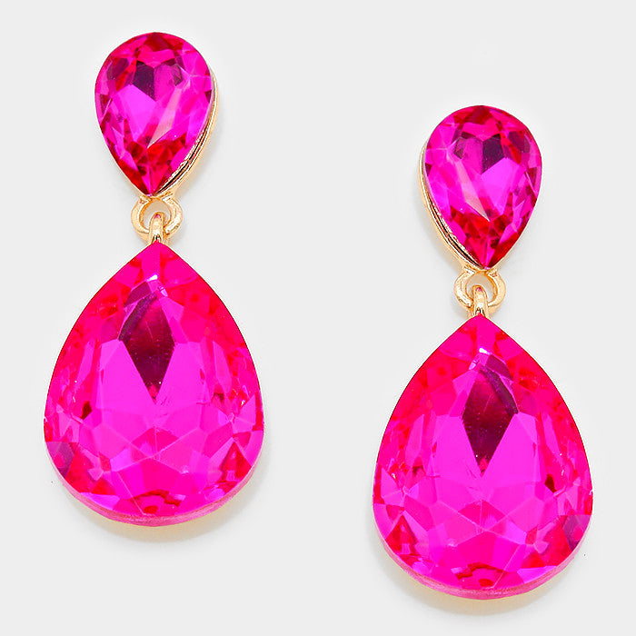 Formal Fuchsia Crystal Double Teardrop Dangle Earrings - Bedazzled By Jeanelle