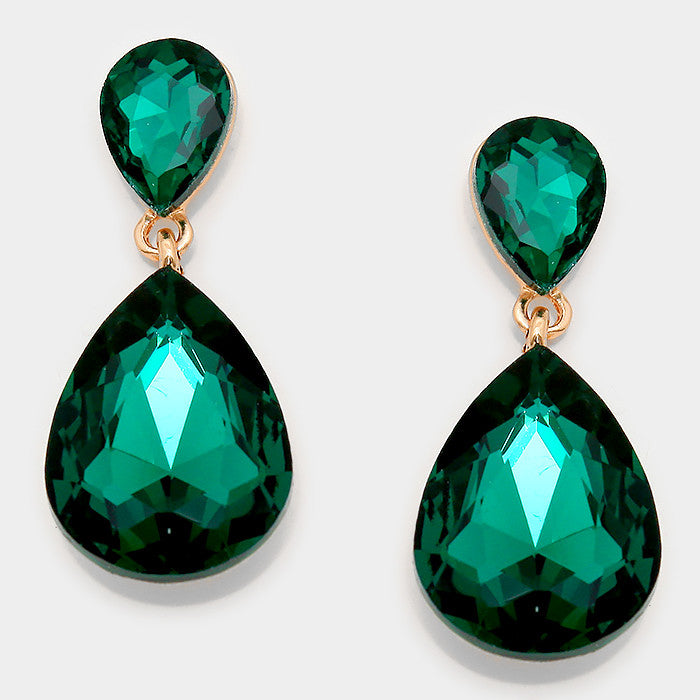 Formal Emerald Crystal Double-Teardrop Dangle Earrings - Bedazzled By Jeanelle
