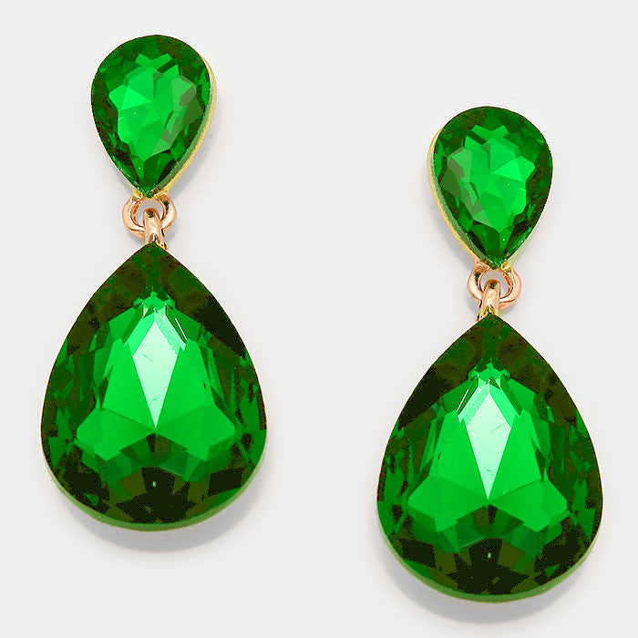 Formal Green Crystal Double Teardrop Dangle Earrings - Bedazzled By Jeanelle