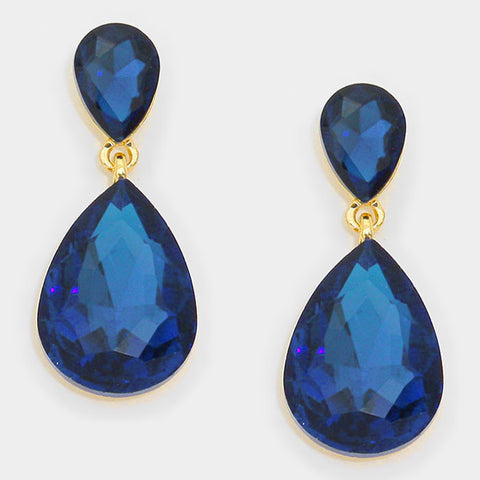 Formal Capri Blue Crystal Double-Teardrop Dangle Earrings - Bedazzled By Jeanelle
