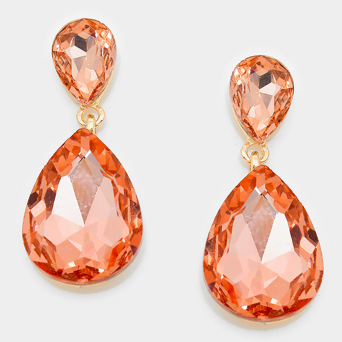 Formal Peach Crystal Double-Teardrop Dangle Earrings - Bedazzled By Jeanelle