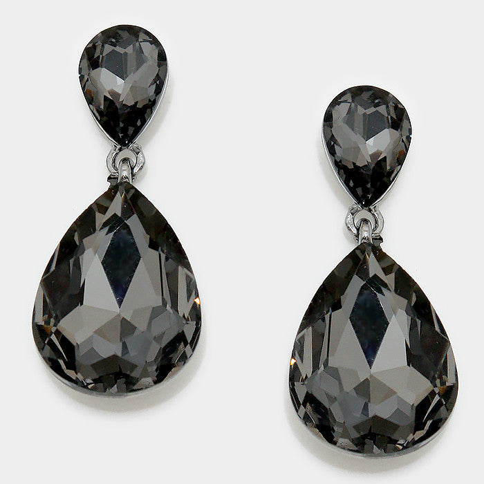 Formal Morion Crystal Double-Teardrop Dangle Earrings - Bedazzled By Jeanelle