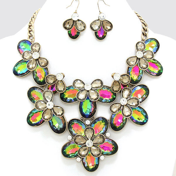 Vitrail Crystal Floral Statement Necklace Set