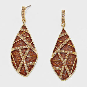 Accented Chocolate Crystal Leaf Drop Earrings - Bedazzled By Jeanelle