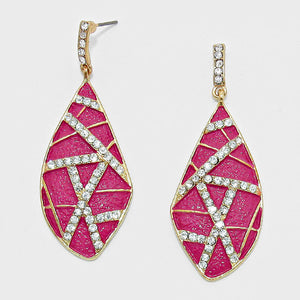 Accented Magenta Crystal Leaf Drop Earrings - Bedazzled By Jeanelle