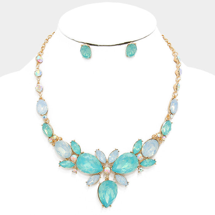Mint Crystal Rhinestone Teardrop Evening Statement Necklace Set - Bedazzled By Jeanelle