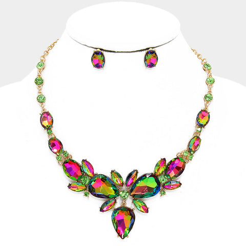Green Vitrail Crystal Rhinestone Teardrop Evening Statement Necklace Set - Bedazzled By Jeanelle