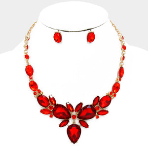 Indian Red Crystal Rhinestone Teardrop Evening Statement Necklace Set - Bedazzled By Jeanelle