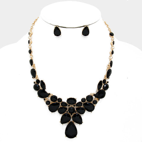 Jet Black Crystal Rhinestone Teardrop Evening Statement Necklace Set - Bedazzled By Jeanelle