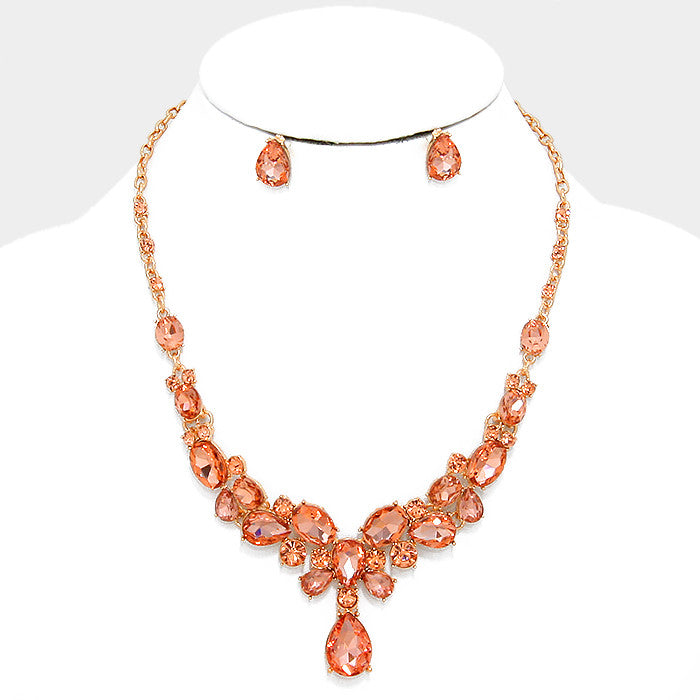 Peach Crystal Rhinestone Teardrop Evening Statement Necklace Set - Bedazzled By Jeanelle