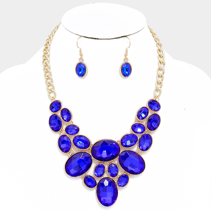 Capri Blue Oval Crystal Rhinestone Bib Necklace Set - Bedazzled By Jeanelle