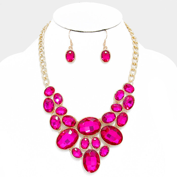 Fuchsia Oval Crystal Rhinestone Bib Necklace Set - Bedazzled By Jeanelle
