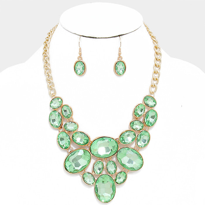 Mint Green Oval Crystal Rhinestone Bib Necklace Set - Bedazzled By Jeanelle