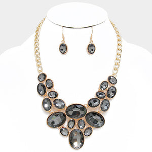Black Oval Crystal Rhinestone Bib Necklace Set - Bedazzled By Jeanelle