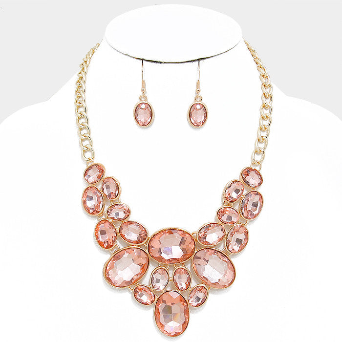 Peach Oval Crystal Rhinestone Bib Necklace Set - Bedazzled By Jeanelle