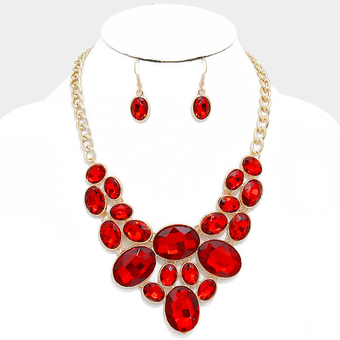 Red Oval Crystal Rhinestone Bib Necklace Set - Bedazzled By Jeanelle