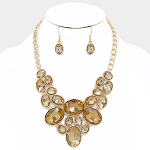Sandy Brown Oval Crystal Rhinestone Bib Necklace Set - Bedazzled By Jeanelle