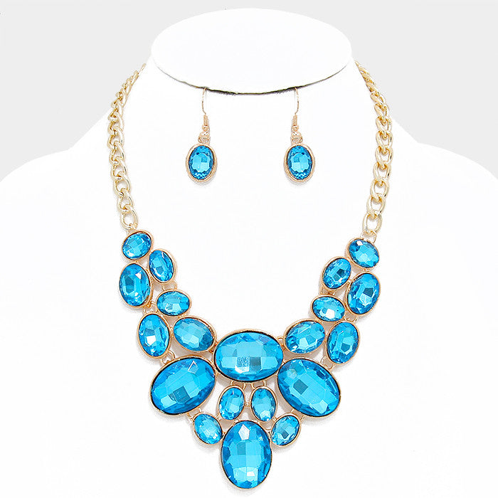 Turquoise Blue Oval Crystal Rhinestone Bib Necklace Set - Bedazzled By Jeanelle