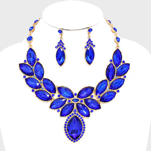 Sapphire Crystal Rhinestone Royalty Evening Statement Necklace Set - Bedazzled By Jeanelle