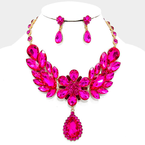 Fuchsia Floral Teardrop Crystal Rhinestone Evening Statement Necklace Set - Bedazzled By Jeanelle