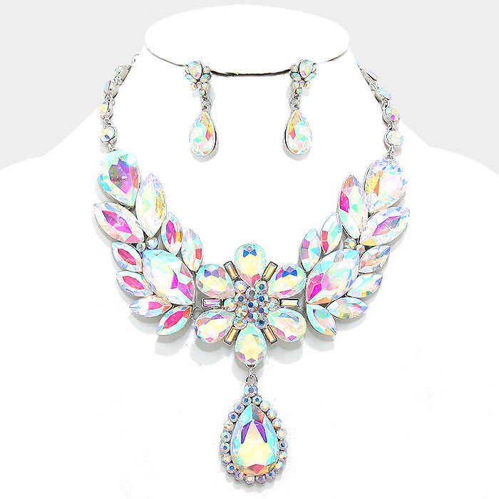 AB Floral Teardrop Crystal Rhinestone Evening Statement Necklace Set - Bedazzled By Jeanelle