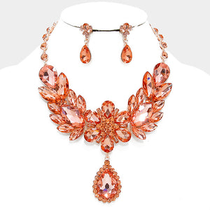 Peach Floral Teardrop Crystal Rhinestone Evening Statement Necklace Set - Bedazzled By Jeanelle