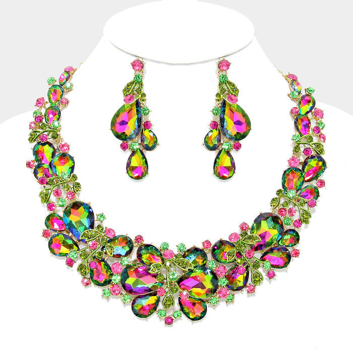 Green Vitrail Teardrop Vine Crystal Rhinestone Evening Statement Necklace Set - Bedazzled By Jeanelle