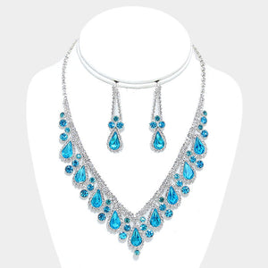 Aqua V-Neck Crystal Teardrop Cluster Evening Statement Necklace Set - Bedazzled By Jeanelle