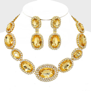 Yellow Topaz Gold Oval Crystal Rhinestone Evening Statement Necklace Set - Bedazzled By Jeanelle