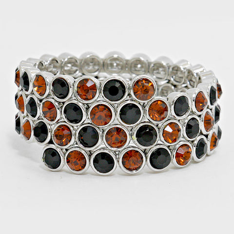 Black and Orange Wrap Bracelet