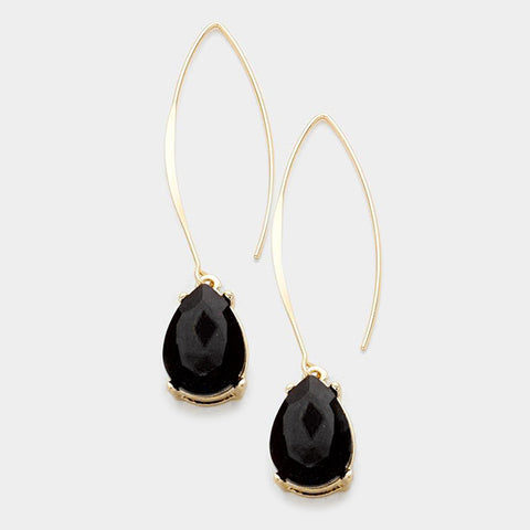 Black Glass Crystal Teardrop Dangle Earrings