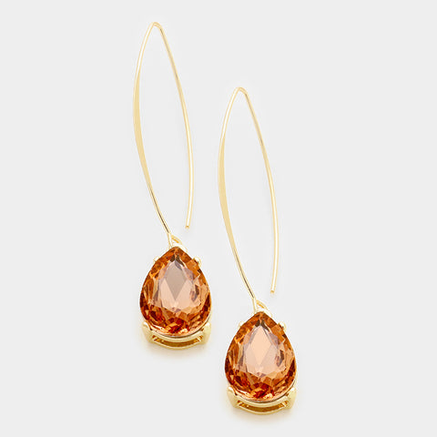 Peach Glass Crystal Teardrop Dangle Earrings