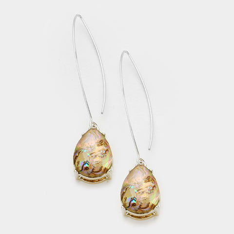 Abalone Glass Crystal Teardrop Dangle Earrings