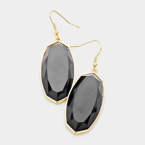 Black Hexagon Dangle Earrings