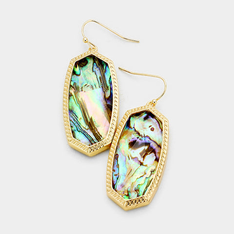 Abalone Hexagon Stone Dangle Earrings