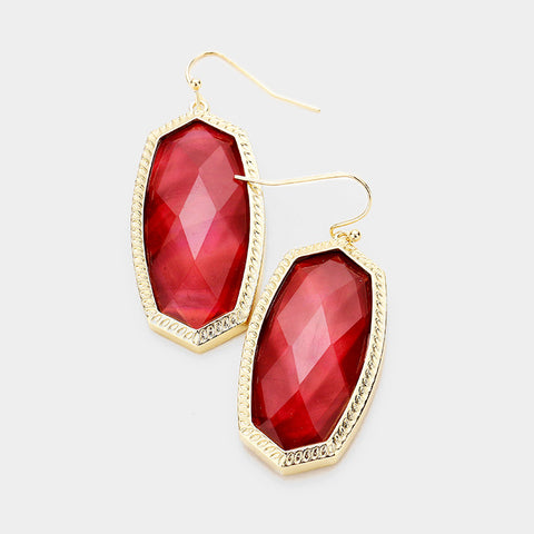 Ruby Red Hexagon Stone Dangle Earrings