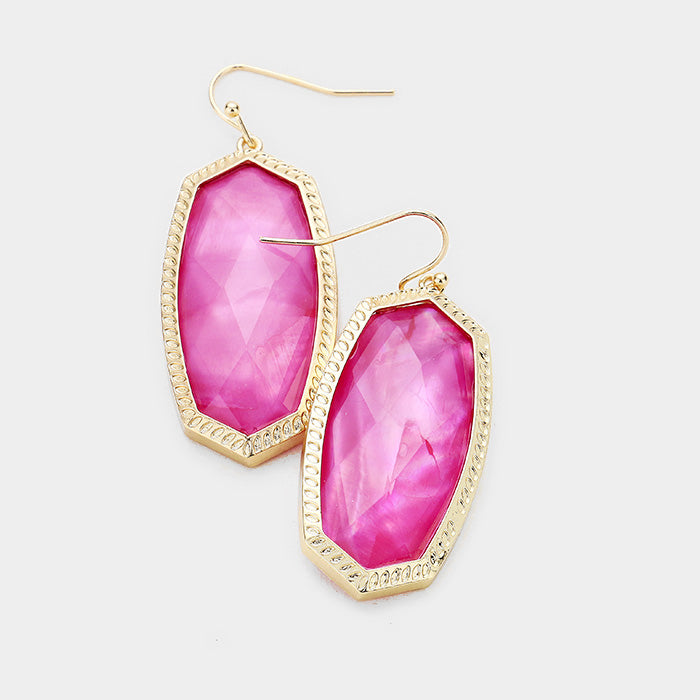 Pink Hexagon Stone Dangle Earrings