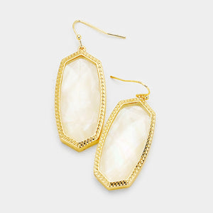 Creamy White Hexagon Stone Dangle Earrings