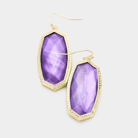 Lavender Hexagon Stone Dangle Earrings