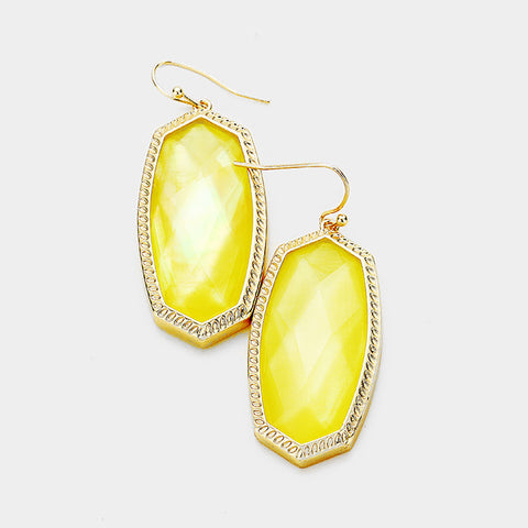 Yellow Hexagon Stone Dangle Earrings