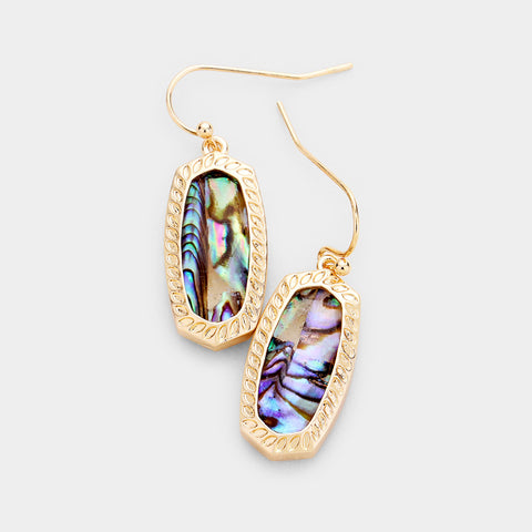 Abalone Hexagon Embossed Metal Dangle Earrings