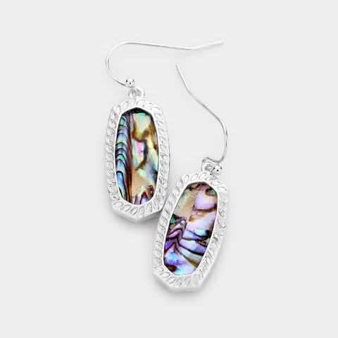 Silver Abalone Hexagon Embossed Metal Dangle Earrings