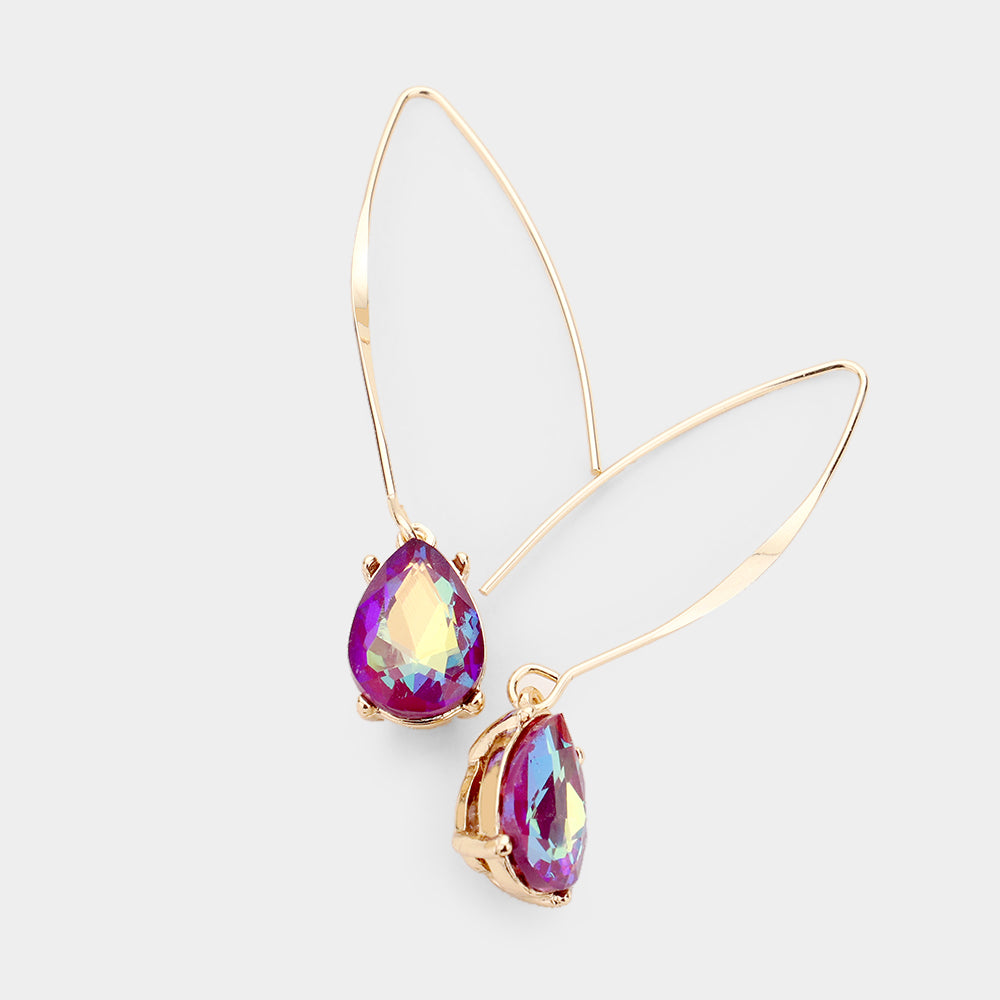 AB Small Purple Teardrop Metallic Coating Crystal Earrings