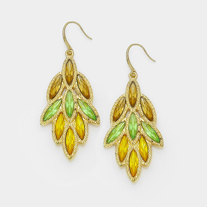 Green-Yellow Leaf Drop Crystal Earrings - Bedazzled By Jeanelle