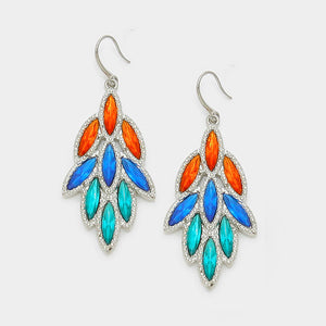 Leaf Drop Crystal Earrings - Bedazzled By Jeanelle