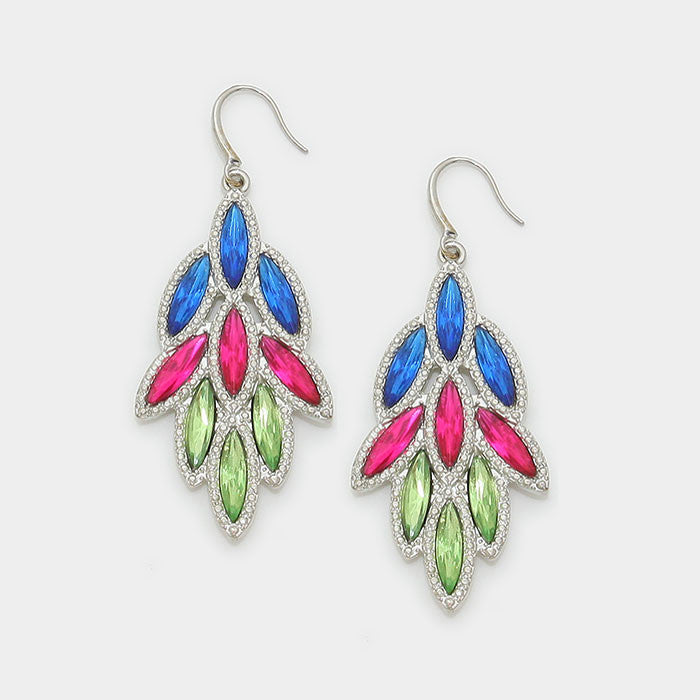 Fuchsia Leaf Drop Crystal Earrings - Bedazzled By Jeanelle