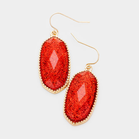 Red Glitter Oval Dangle Earrings